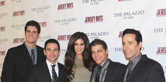From left to right: Peter Saide, Travis Cloer, Playmate Hope Dworaczyk, Deven May, Jeff Leibow