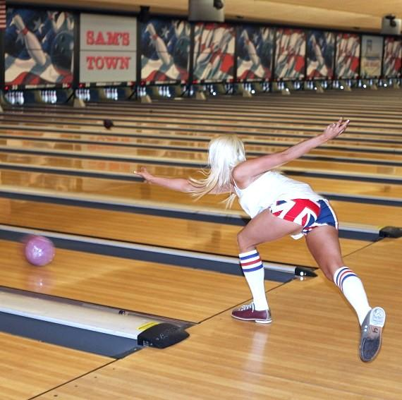 Chloe Louise Crawford bowling at Nevada SPCA Celebrity Bowling Tournament