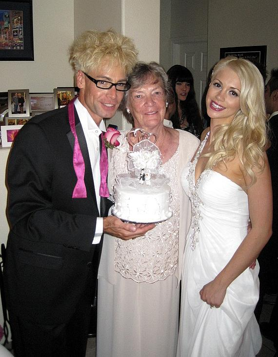Murray SawChuck, Murray's mom Arlene Sawchuck and Chloe Louise Crawford get married