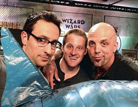 Wizard Wars creator/producer Rick Lax in the Magic Workshop with the two Wizards competing in tonight's competition: Billy Kidd and Greg Wilson