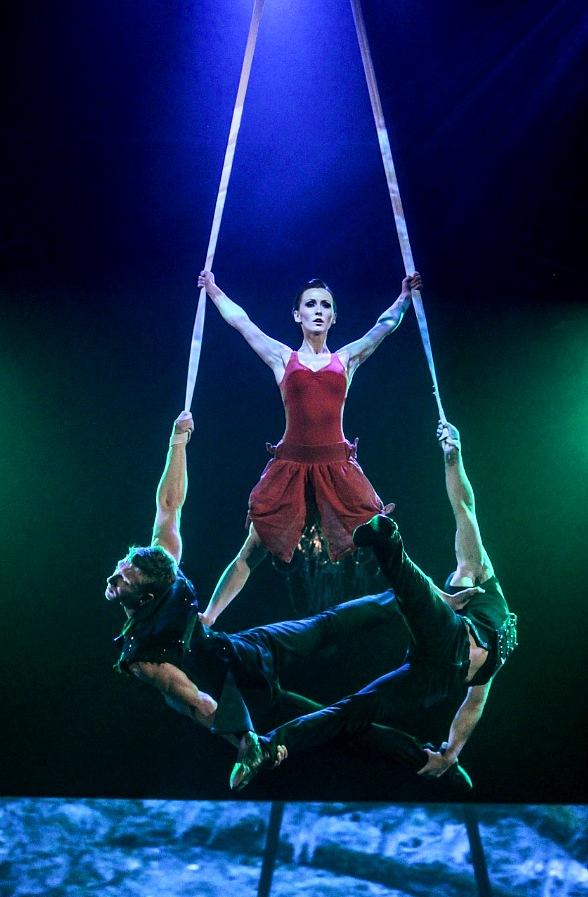 "Erica Linz balances atop Kyle DesChamp (left) and Pierre-Luc Sylvain during the Circus Couture ""Possession(s)"" event held at The Joint inside Hard Rock Hotel"