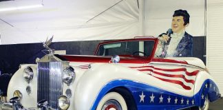 """Liberace Garage at Hollywood Cars Museum adds the late Entertainer's Classic Red, White and Blue """"Bicentennial"""" Rolls Royce"""