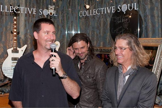 Paul Davis, Vice President of Entertainment of Hard Rock Hotel, with Collective Soul at Hard Rock Hotel Showcase Presentation
