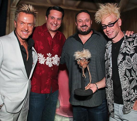 """Chris Phillips of Zowie Bowie, Douglas """"Lefty"""" Leferovich, Brand Powers and Murray SawChuck at The Golden Tiki in Las Vegas"""
