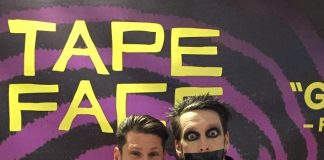 Four Queens Headliner Mike Hammer visits fellow Vegas Headliner, Tape Face, at The Flamingo