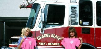 Holly and Laura visit the local Fire Station for a breast cancer awareness campaign