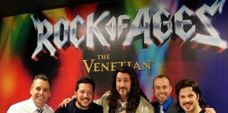 "Joe Gatto, Sal Vulcano and James Murray of Impractical Jokers attend ""Rock of Ages"" at The Venetian Las Vegas"
