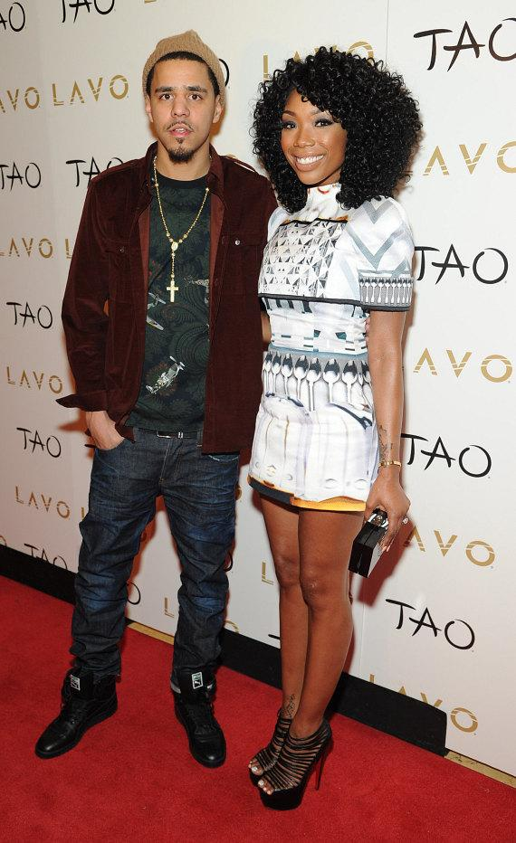 J Cole and Brandy on red carpet at LAVO