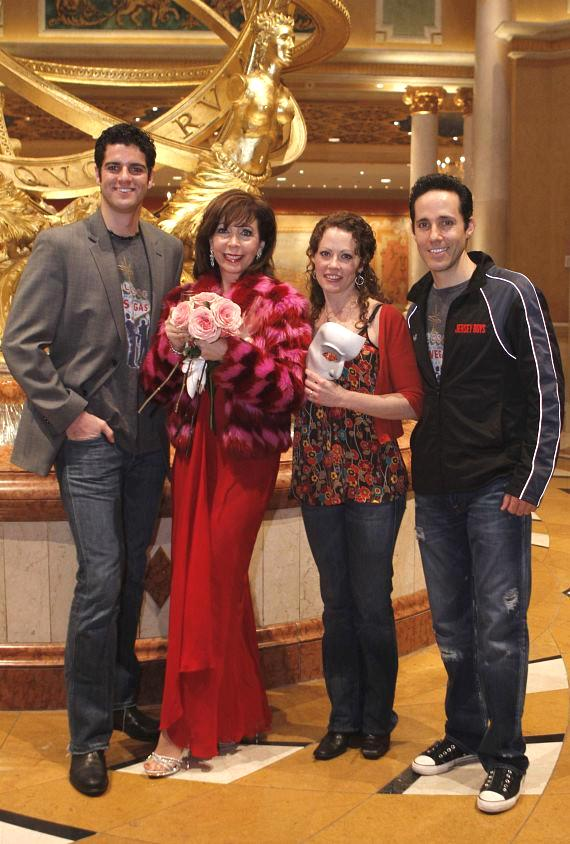 "Rita Rudner with ""Jersey Boys"" cast members Peter Saide and Jeff Leibow (""Nick Massi""), and Phanton star Kristi Holden"