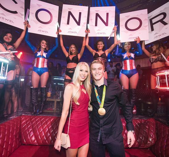 Olympic Gold Medalist Connor Fields and girlfriend Laura Gruninger at JEWEL Nightclub