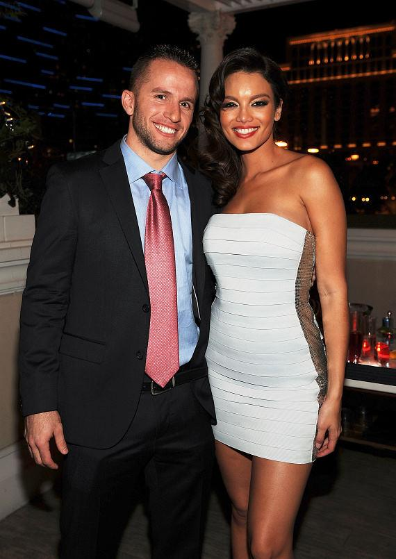 Dallas Mavericks champion JJ Barea and Miss Universe 2006 Zuleyka Rivera at the official after party for Miss USA 2011