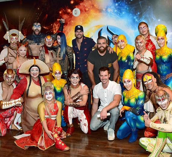 Jason Dohring and James Maslow pose with the cast of KÀ by Cirque du Soleil, Aug. 24