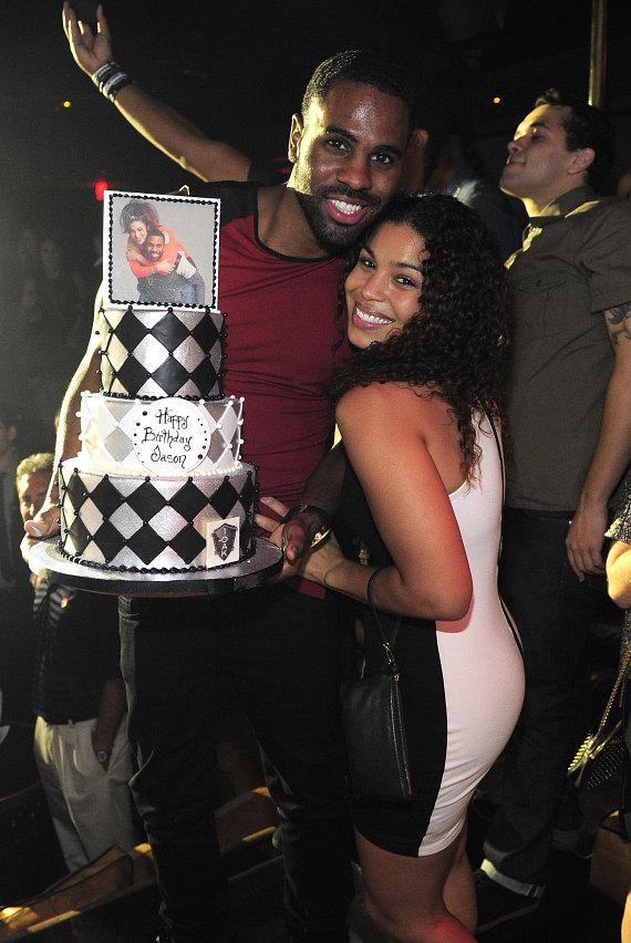 Jason Derulo and his fiancée Jordan Sparks at 1 OAK