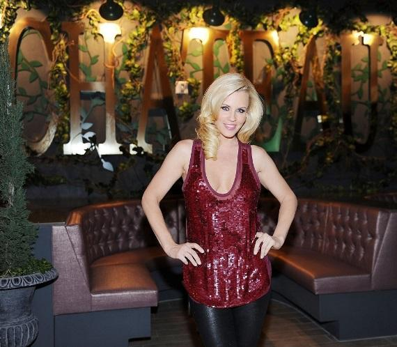 Jenny McCarthy in front of the Chateau Gardens sign at Chateau Nightclub & Gardens