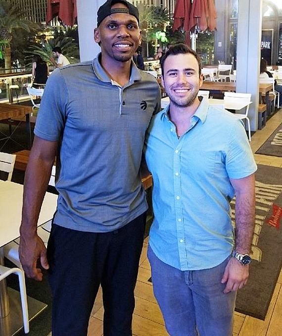 Jerry Stackhouse (left) with a fan at Beer Park in Las Vegas