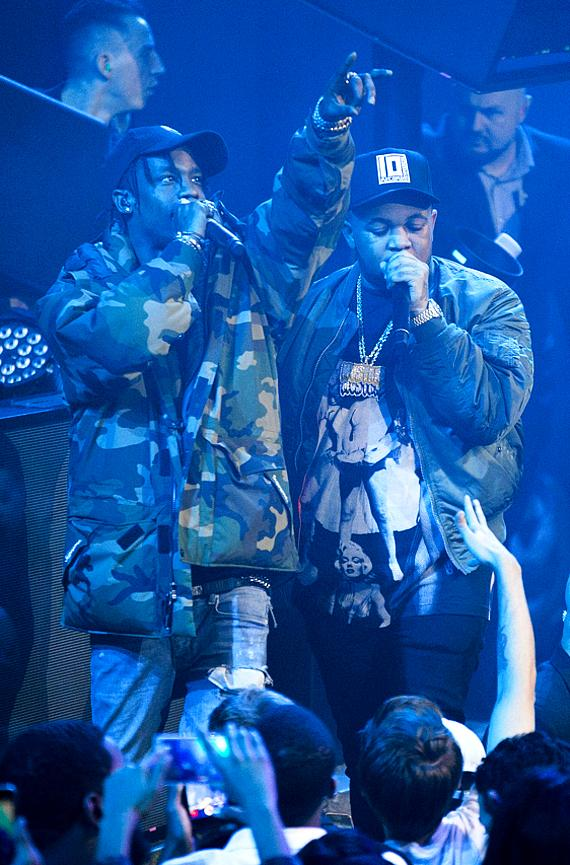 Travis Scott and DJ Mustard perform their newest single, Whole Lotta Lovin', at LIGHT Nightclub at Mandalay Bay