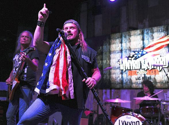 Rickey Medlocke and Johnny Van Zant on stage at Lynyrd Skynyrd BBQ & Beer at Excalibur