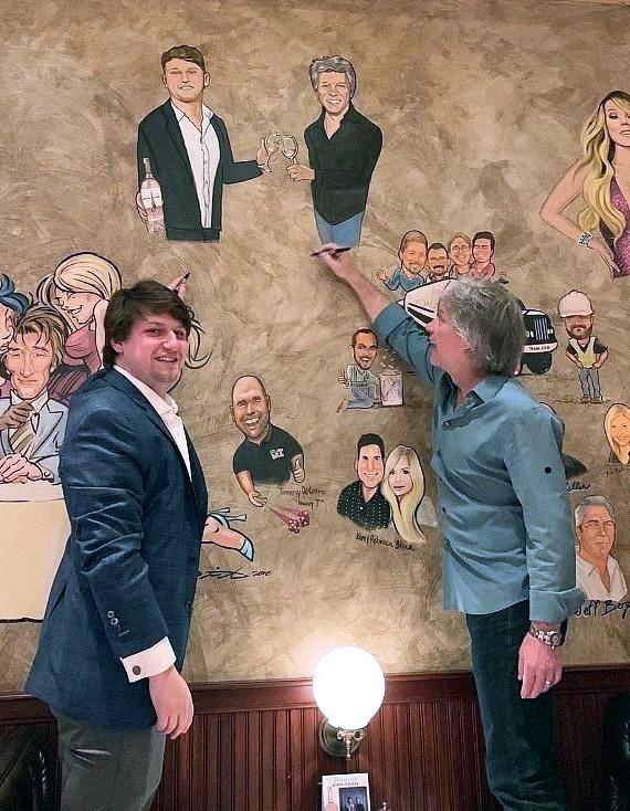 Rock Legend Jon Bon Jovi Visits His Portrait Recently Added to the Iconic Caricature Wall in Las Vegas