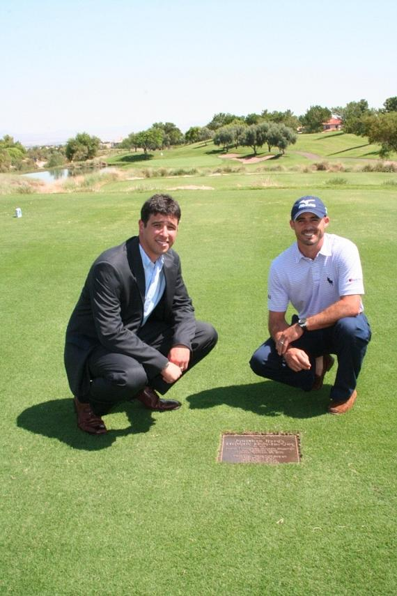 Jonathan Byrd and Adam Sperling unveil commemorative plaque at TPC Summerlin