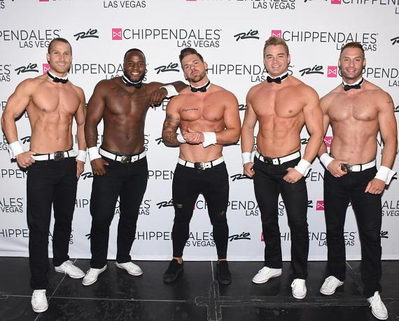 Joss Mooney with Chippendales cast at Rio All-Suite Hotel in Las Vegas