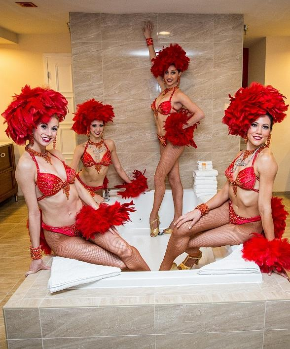 Bally's Las Vegas Jubilee! Showgirls unwind in a Jubilee Tower Celebrity Suite Jacuzzi