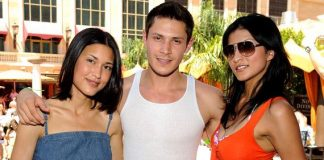Julia Jones, Alex Meraz and Tinsel Korey at TAO Beach