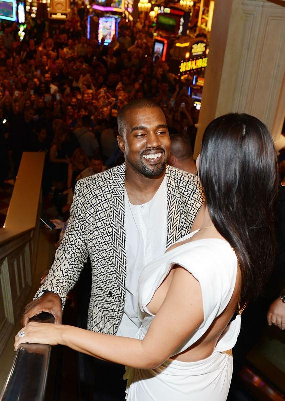 Kanye West and Kim Kardashian West arrive at TAO Nightclub to celebrate her birthday at the Venetian on October 24