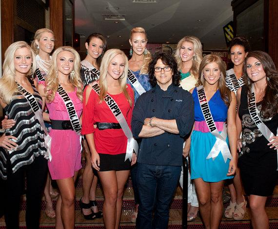 Chef Kerry Simon with the Miss USA contestants