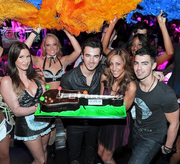Kevin Jonas, his wife, Danielle, and brother, Joe Jonas, celebrate Kevin's birthday at Chateau Nightclub & Gardens