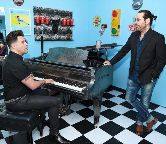 """Frankie Moreno rehearses with Kip Winger backstage at """"Frankie Moreno – Under the Influence"""" at Planet Hollywood Resort & Casino"""