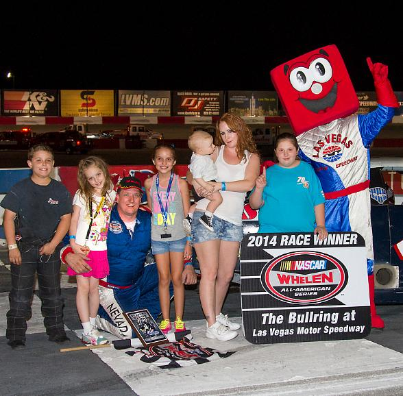 Scott Gafforini celebrates with his family after winning the NASCAR Super Late Model feature on Sept. 13 at The Bullring at Las Vegas Motor Speedway