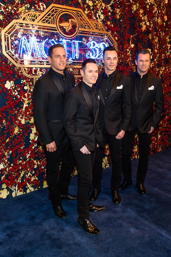 Las Vegas headliners Human Nature walk the carpet during the Mott 32 grand opening at The Venetian
