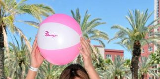 Laura Croft at the Flamingo GO Pool with beach ball
