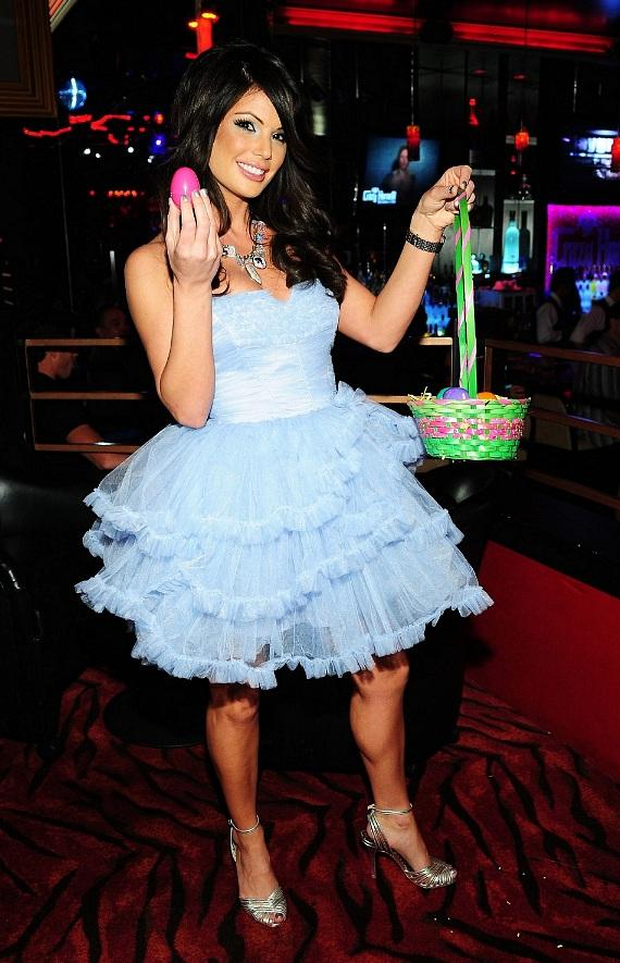 Laura Croft playfully poses with Easter gear at the 'Sexy Bunnies Bash' at Crazy Horse III and Posh Boutique Nightclub