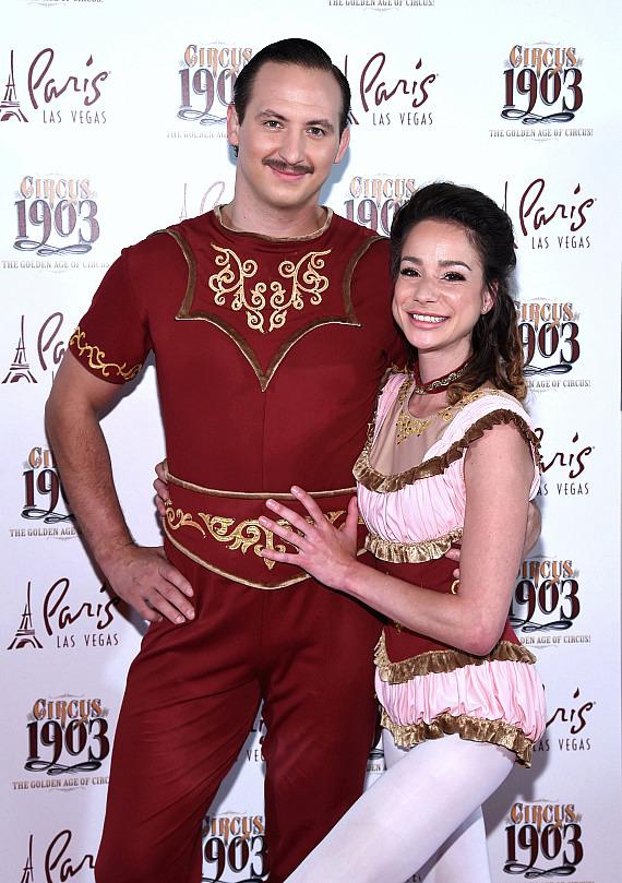 Les Incredibles' Anny Laplante and Andrei Kalesnikau at Opening Night of CIRCUS 1903 at Paris Las Vegas