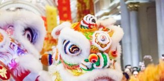 Lion Dancers at Chinese New Year Celebration