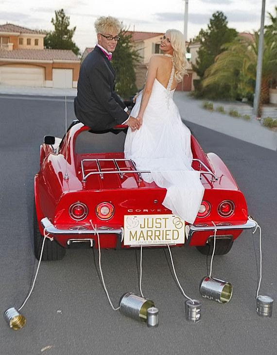 Murray SawChuck and Chloe Louise Crawford get married ride off in the red Corvette