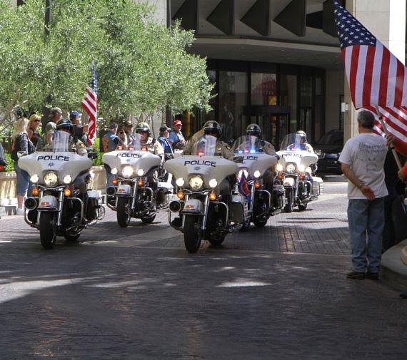 Police motorcade leading the troops from McCarran Airport arrives at The Palazzo Las Vegas