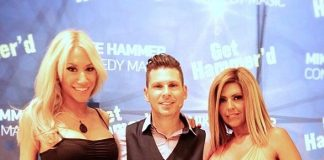 Electric Violinist Lydia Ansel and DJ Liz Clark visit Mike Hammer at his headline show at the Four Queens Hotel & Casino