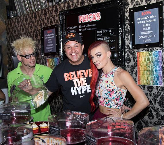 Murray SawChuck, Douglas 'Lefty' Leferovich and April Leopardi Anneberg working behind the counter at Showboy Bakeshop