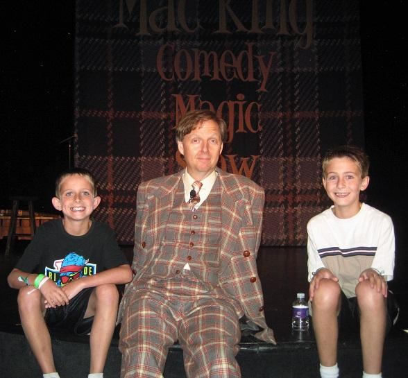 Comedy-magician Mac King takes a break between his 1 p.m. and 3 p.m. shows to discuss the world of live theatre with Las Vegas YMCA day campers Mack Johnson, 8 and Jake Johnson, 10.