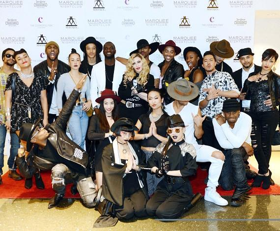 Madonna and Dancers on Red Carpet at Marquee