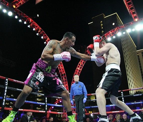 Joey Ruelas vs JohBoxing action fills the air of Downtown Vegas! Presented by Roy Jones Jr. ,