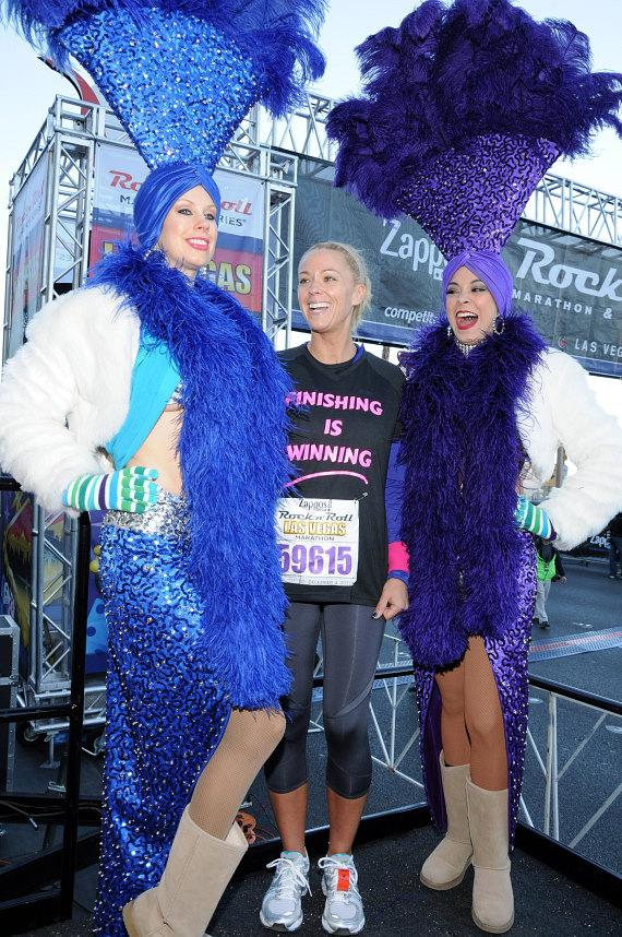 Kate Gosselin with Las Vegas showgirls