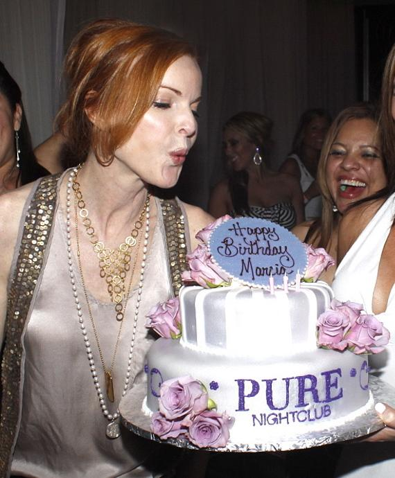 Marcia Cross with birthday cake