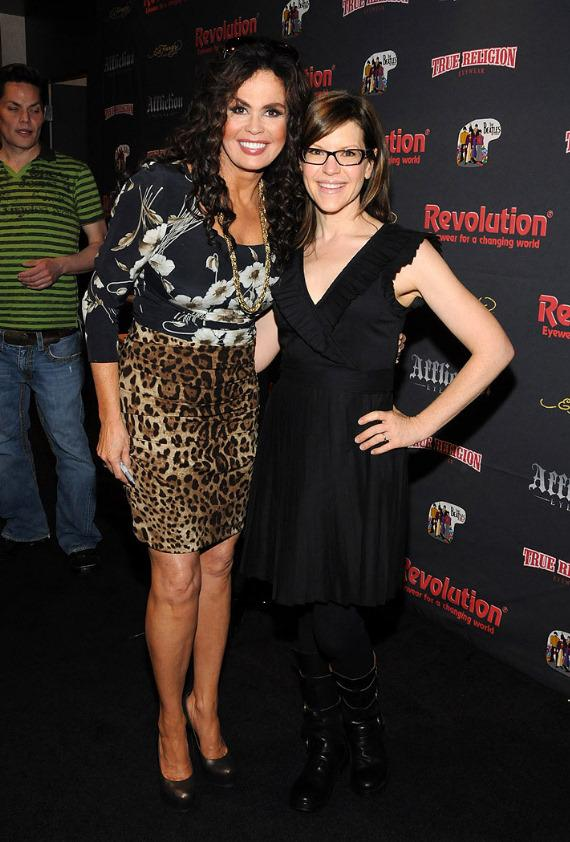 Marie Osmond with singer Lisa Loeb at the Revolution Eyewear booth at Vision Expo West