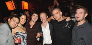 Mark Salling (2nd from right) and friends at LAVO
