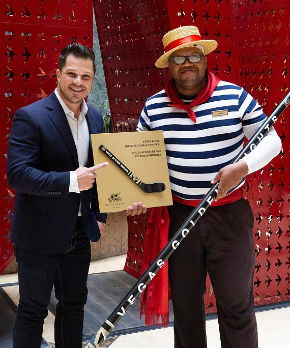 """Carnell """"Golden Pipes"""" Johnson Honored by The Venetian and The Palazzo with Plaque and Gondola Oar Shaped Hockey Stick"""