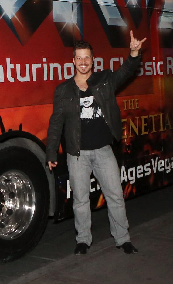 Mark Shunock with Rock of Ages Bus