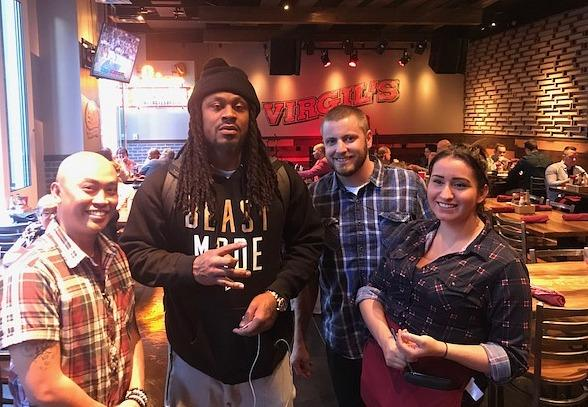 Marshawn Lynch at Virgil's Real Barbecue in Las Vegas